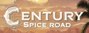 title work for the board game Century: Spice Road, depicting the sun setting over a sandy trade route in the spice road era