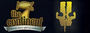 The 7th Continent logo and wordmark: Explore. Survive. YOU are the hero - next to a yellow skull-like image where the cheekbones are little hands.
