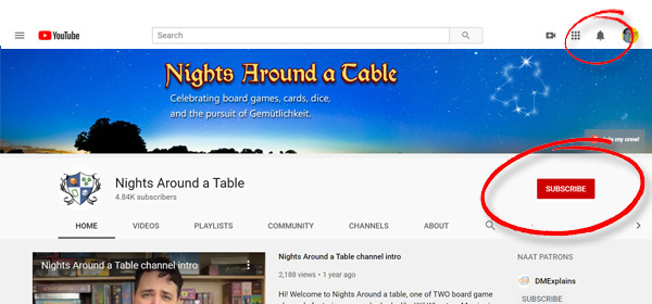 Nights Around a Table YouTube subscribe and bell button locations