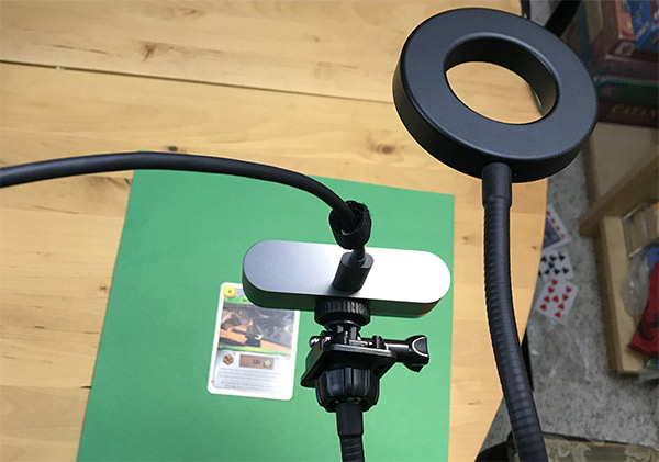 gooseneck clamp and ring light tripod for closeup overlays in OBS