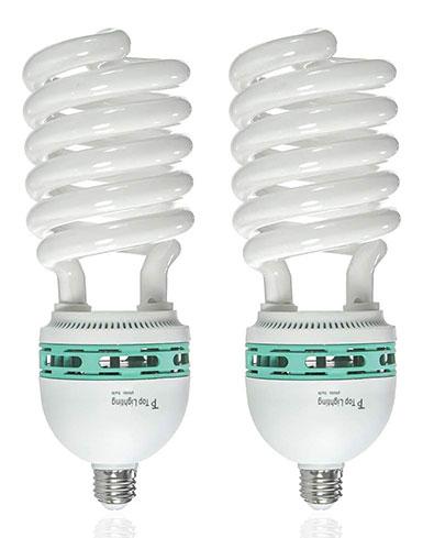 LimoStudio Set of Two 105 Watt, 6500 K Fluorescent Daylight Balanced Light Bulb for Photography and Video Lighting, AGG878