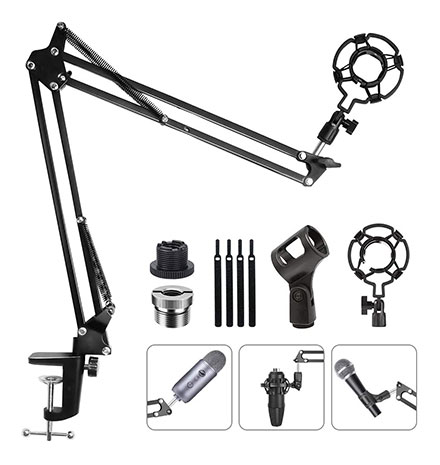 Eastshining Upgraded Adjustable Microphone Suspension Boom Scissor Arm Stand with Shock Mount Mic Clip Holder 3/8'' to 5/8'' Screw Adapter -for Blue Yeti, Snowball & Other Microphones